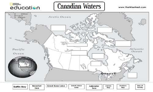 Canada Water Bodies to label