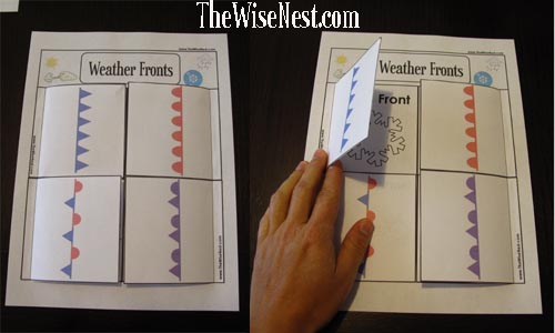 weather fronts self check worksheet the wise nest. Black Bedroom Furniture Sets. Home Design Ideas