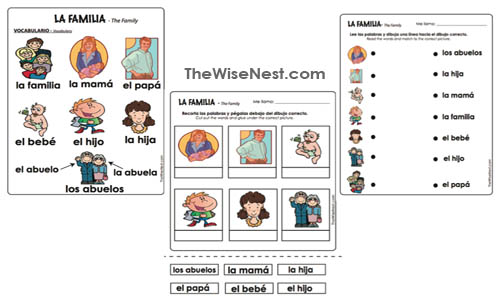 La Familia Spanish The Wise Nest – La Familia Worksheets
