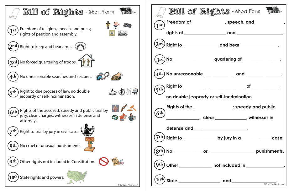 Bill of Rights The Wise Nest – Bill of Rights Worksheets