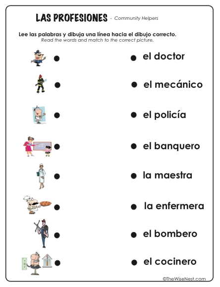 Las Profesiones Community Helpers on Spanish Word For Pets